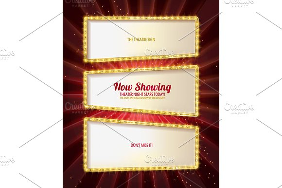 Gold frame retro comic design banner in Graphics - product preview 3