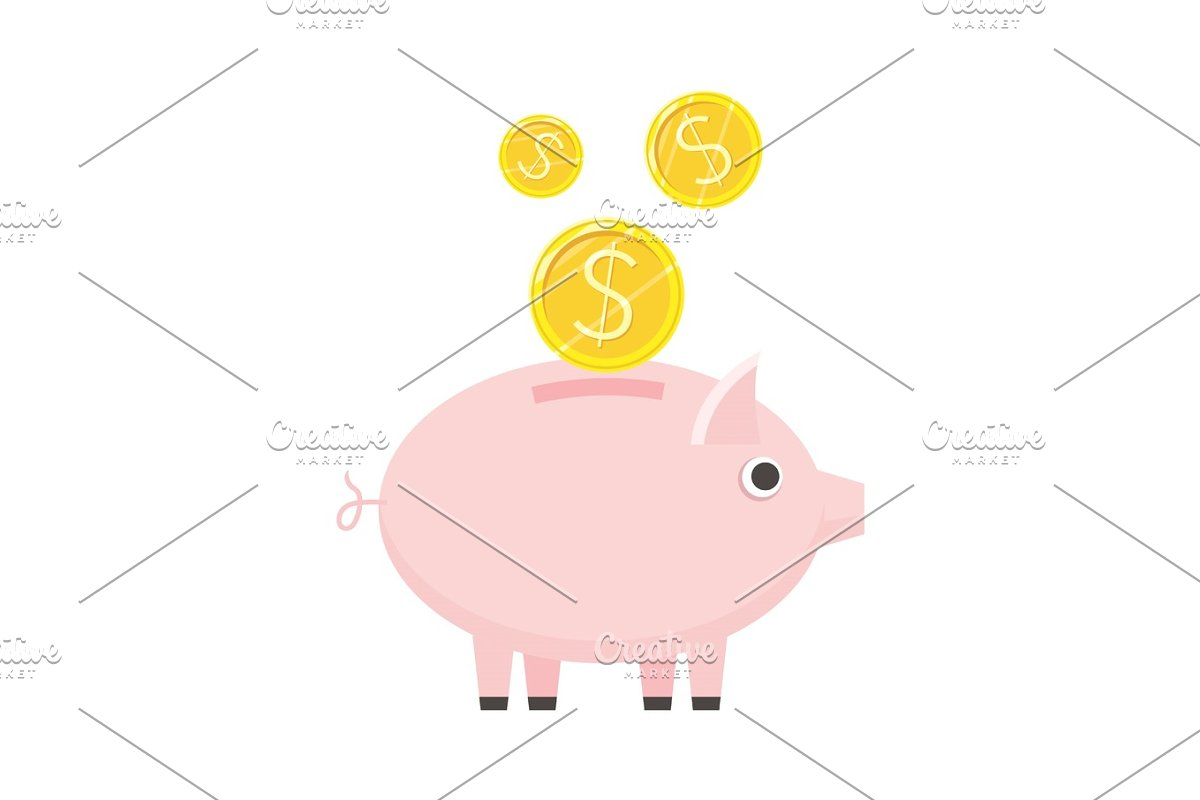 Piggybank Vector Icon in Flat Style Design in Objects - product preview 8