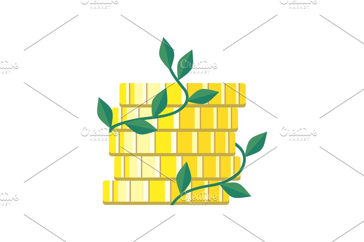 Plant Growth from Money Coin Stack Isolated in Illustrations - product preview 8