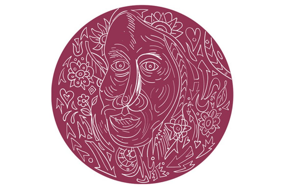 Old Woman Face Circle Mandala in Illustrations - product preview 8