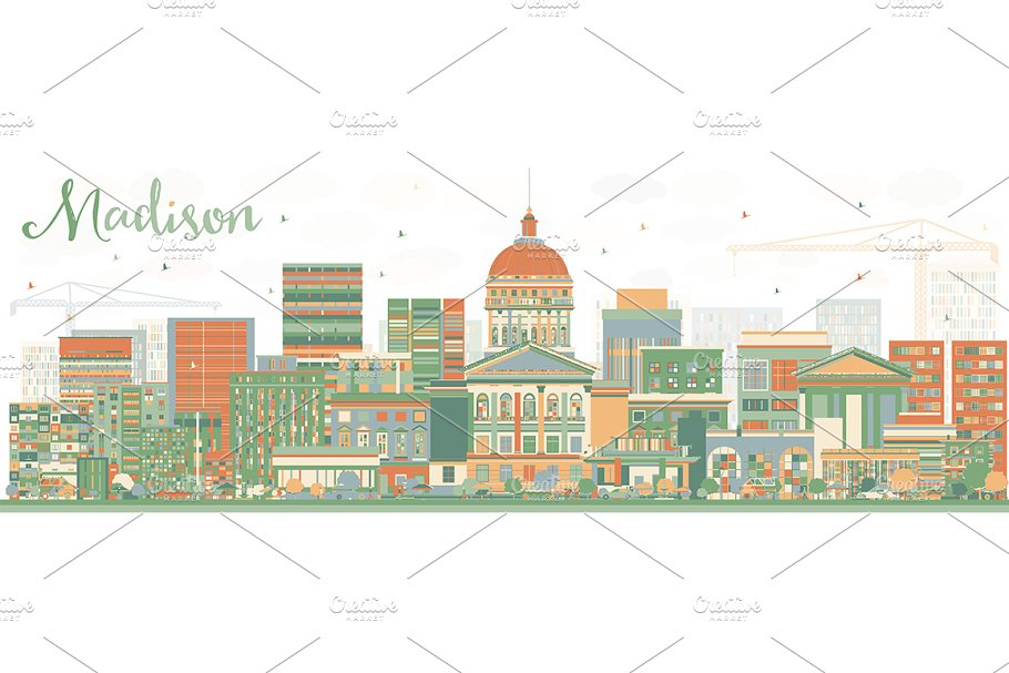 Abstract Madison Skyline  in Illustrations - product preview 8