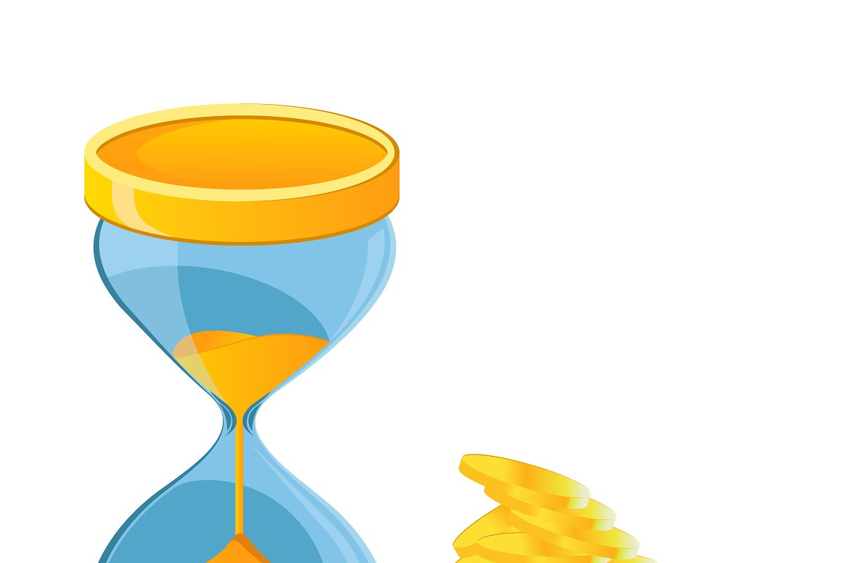 hour glass, coins, time is money in Illustrations - product preview 8