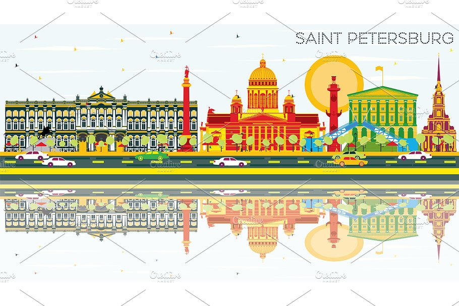 Saint Petersburg Skyline in Illustrations - product preview 8