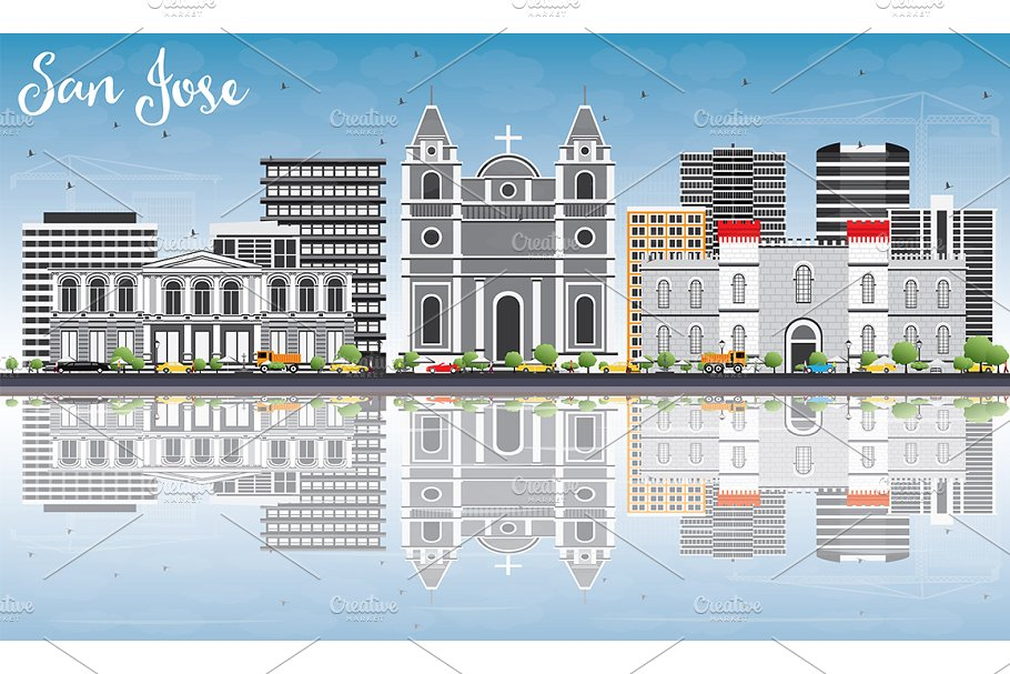 San Jose Skyline with Gray Buildings in Illustrations - product preview 8