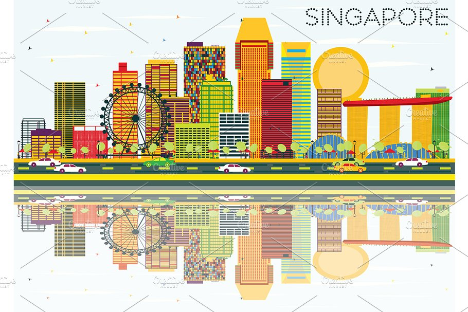 Singapore Skyline  in Illustrations - product preview 8