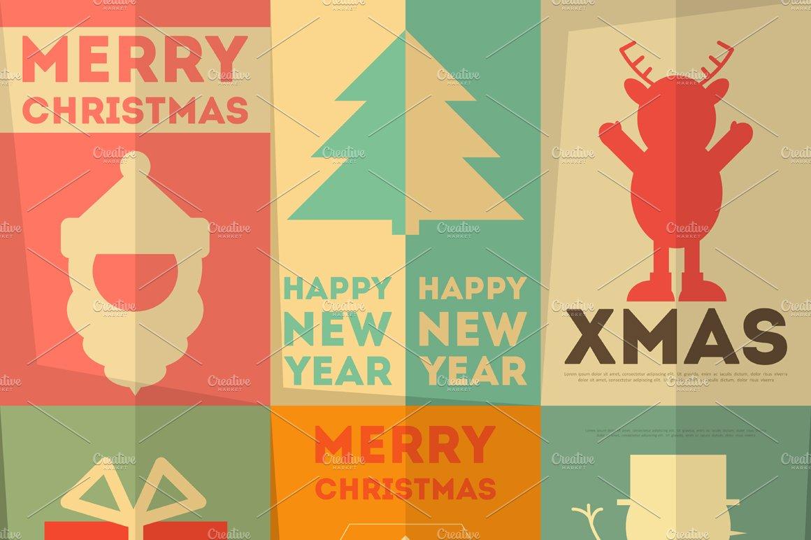 Merry christmas greeting card illustrations creative market m4hsunfo