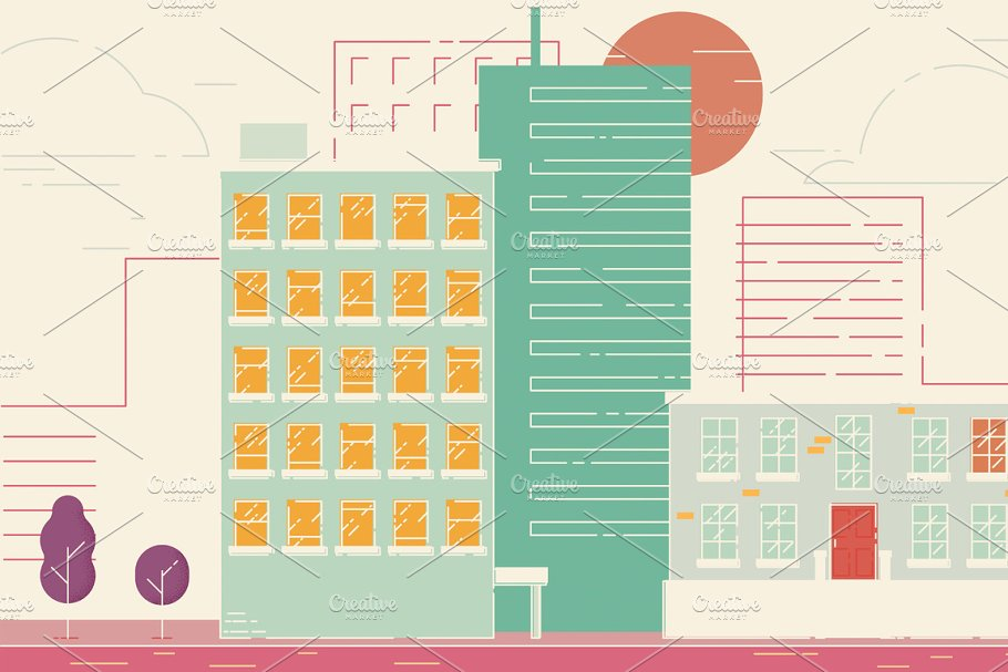 Street City Buildings in Illustrations - product preview 8