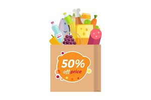Sale in Grocery Store Flat Style Vector Concept