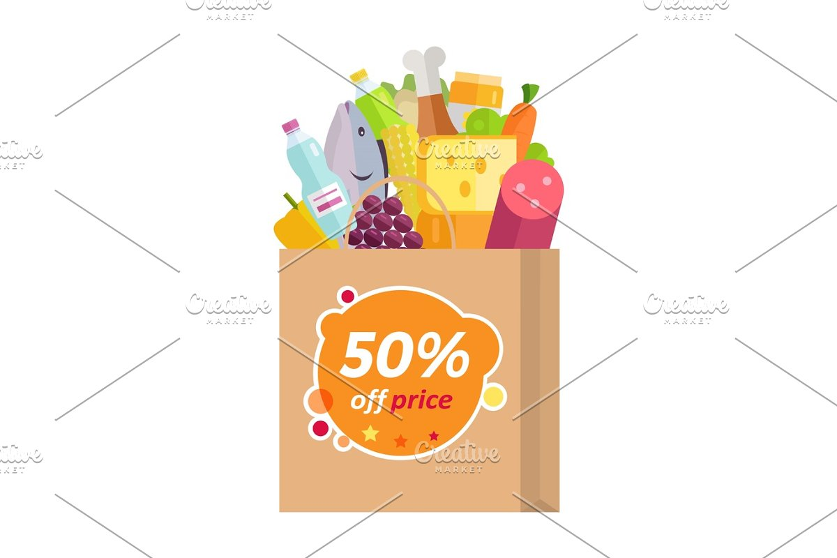 Sale in Grocery Store Flat Style Vector Concept  in Illustrations - product preview 8
