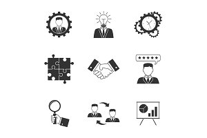 Management icons on white background