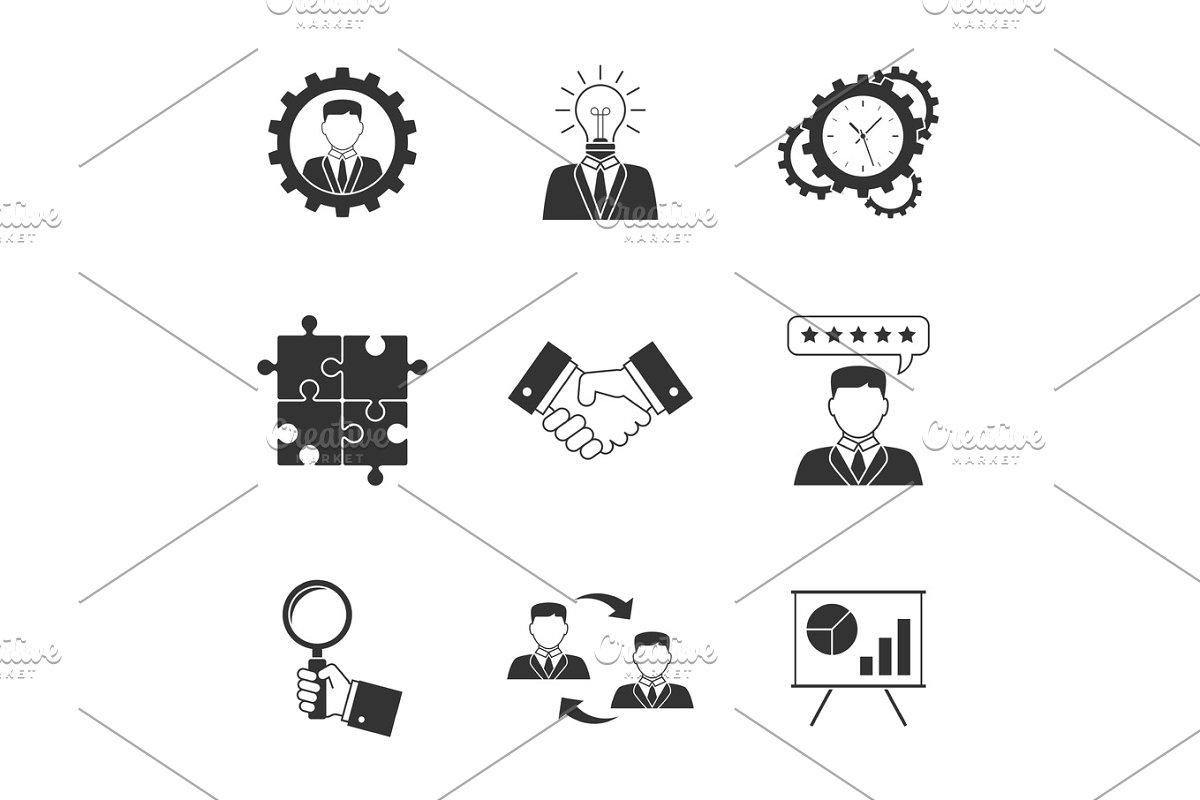 Management icons on white background in Illustrations - product preview 8