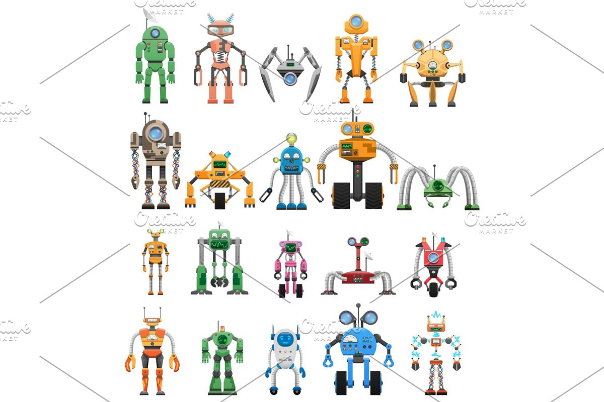 Robots Set Modular Collaborative Android Machines in Illustrations - product preview 8