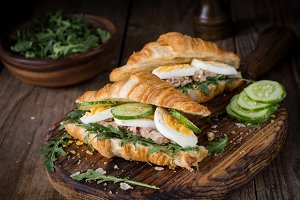 Croissant tuna salad sandwich