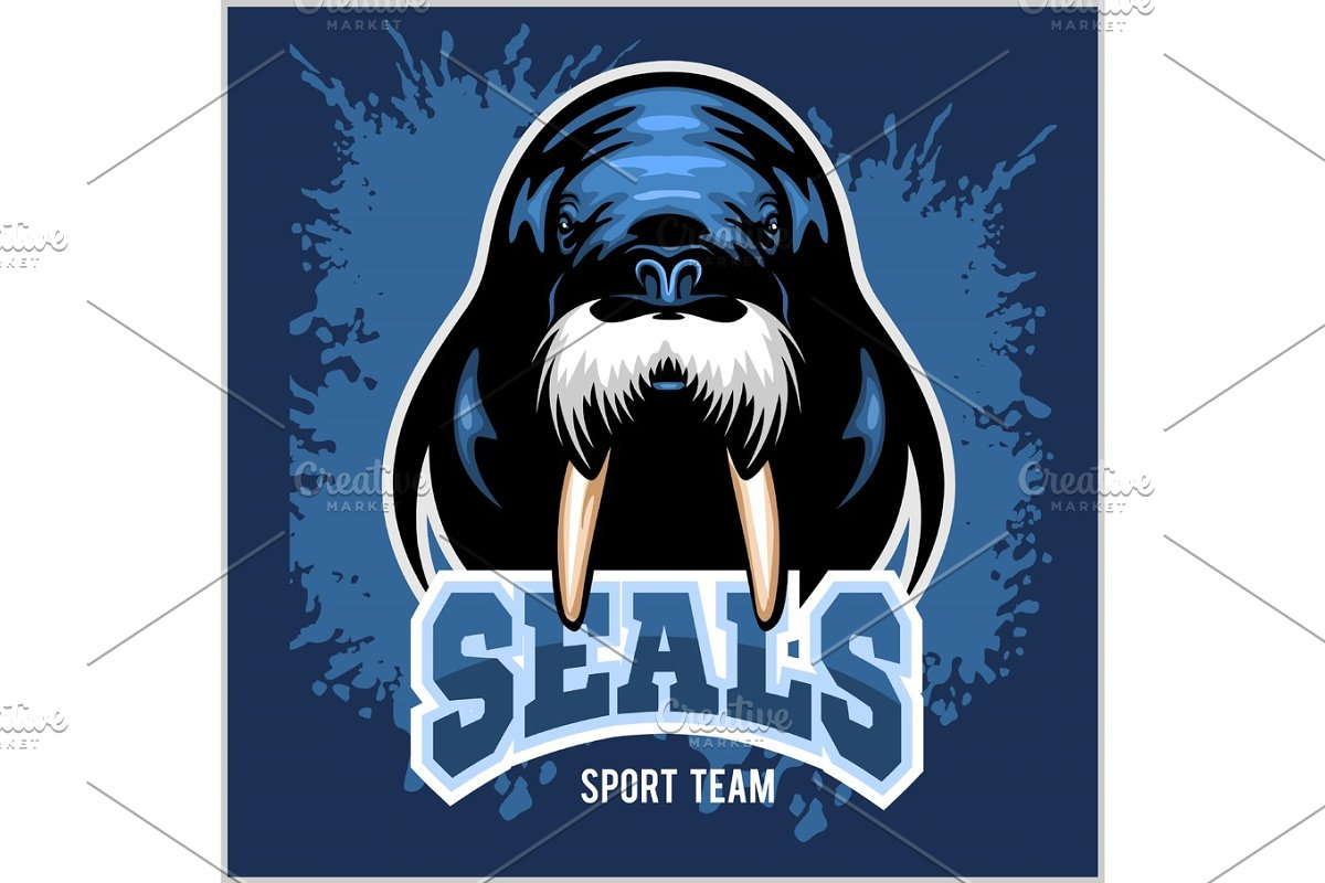 Vector Walrus logo template for sport teams, business etc. in Illustrations - product preview 8