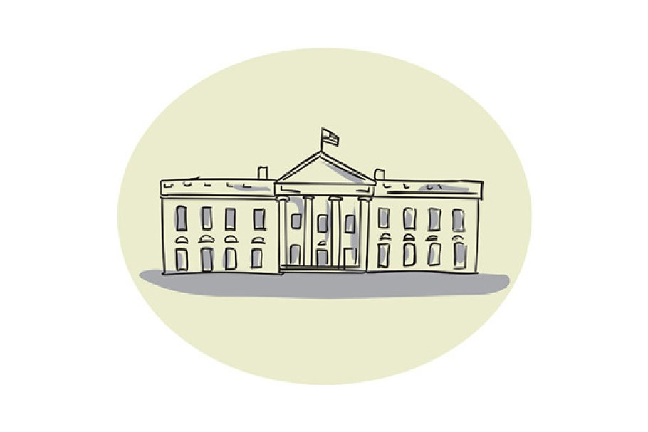 White House Building Oval Drawing in Illustrations - product preview 8