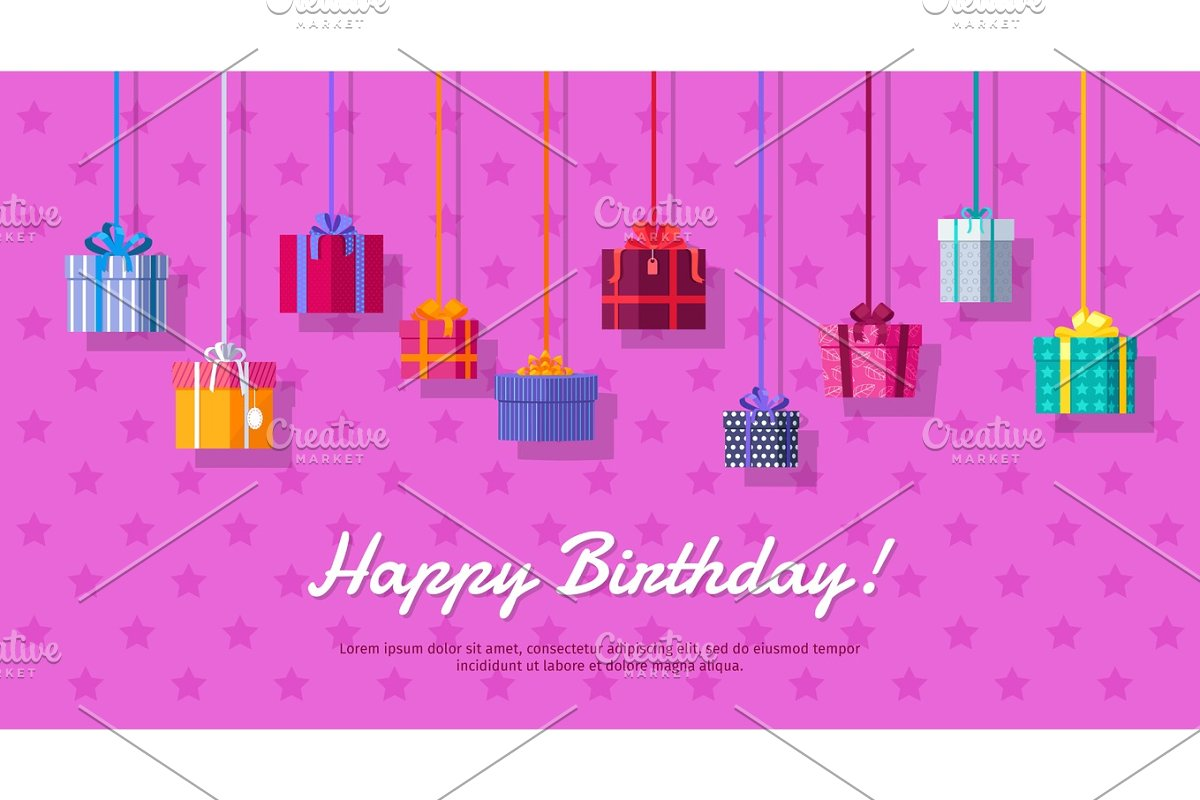 Happy Birthday Vector Flat Design Web Banner in Objects - product preview 8