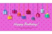 Happy Birthday Vector Flat Design Web Banner