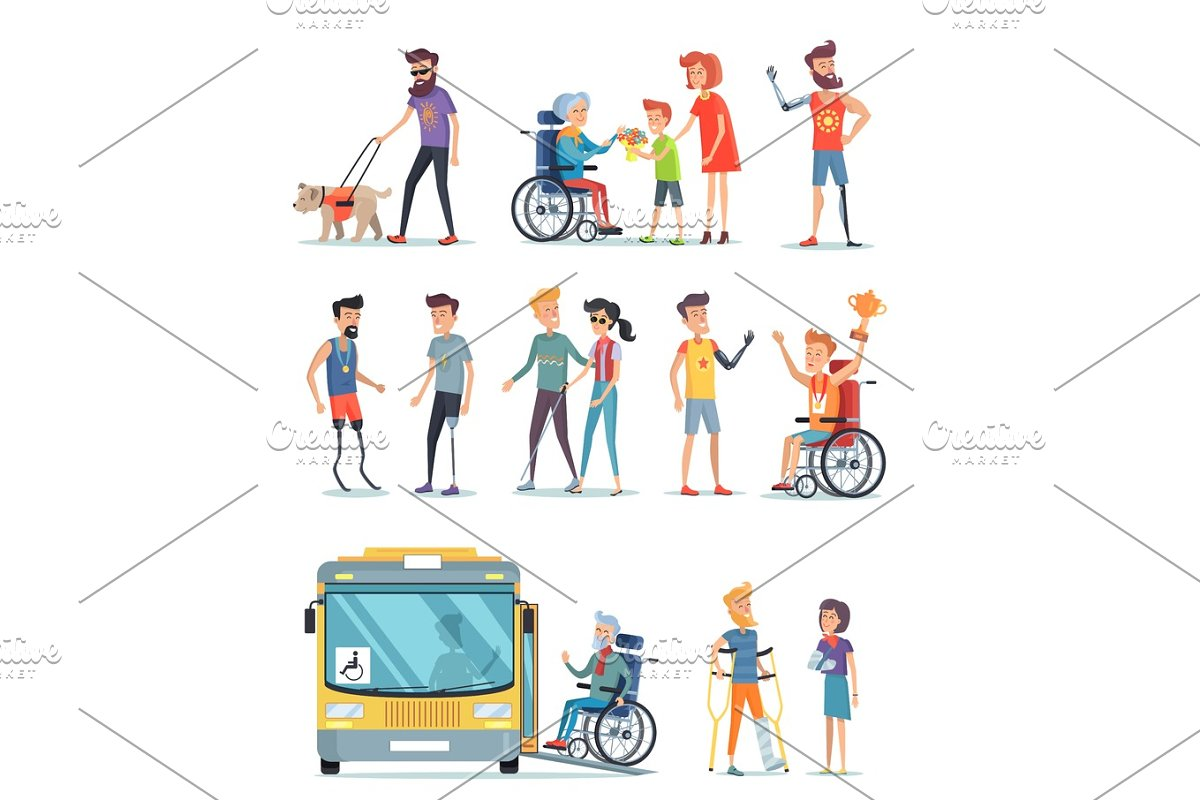 Disabled People and Help for Them White Poster in Illustrations - product preview 8