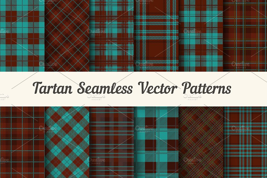 Tartan seamless vector patterns in Patterns - product preview 8