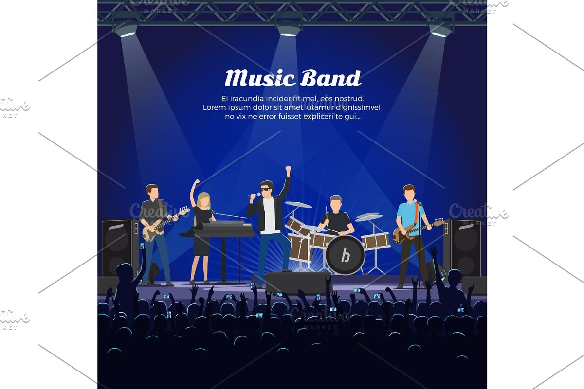 Music Band on Stage and Many Spectators Underneath in Illustrations - product preview 8