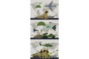 Military Infographic Banner with World Map. Vector