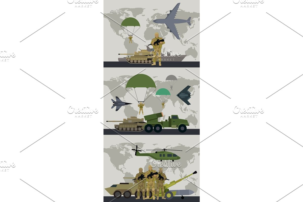 Military Infographic Banner with World Map. Vector in Illustrations - product preview 8