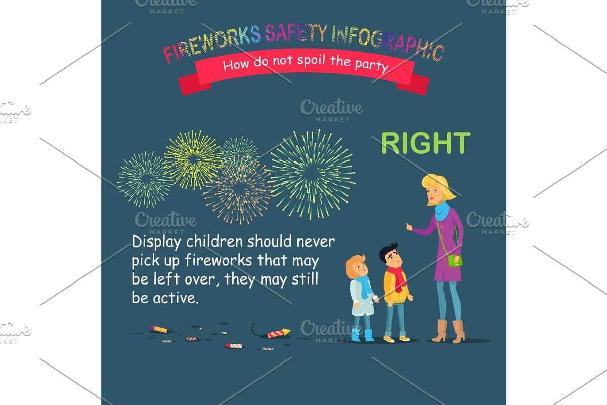 Fireworks Safety Infographic, Teaching Children in Objects - product preview 8