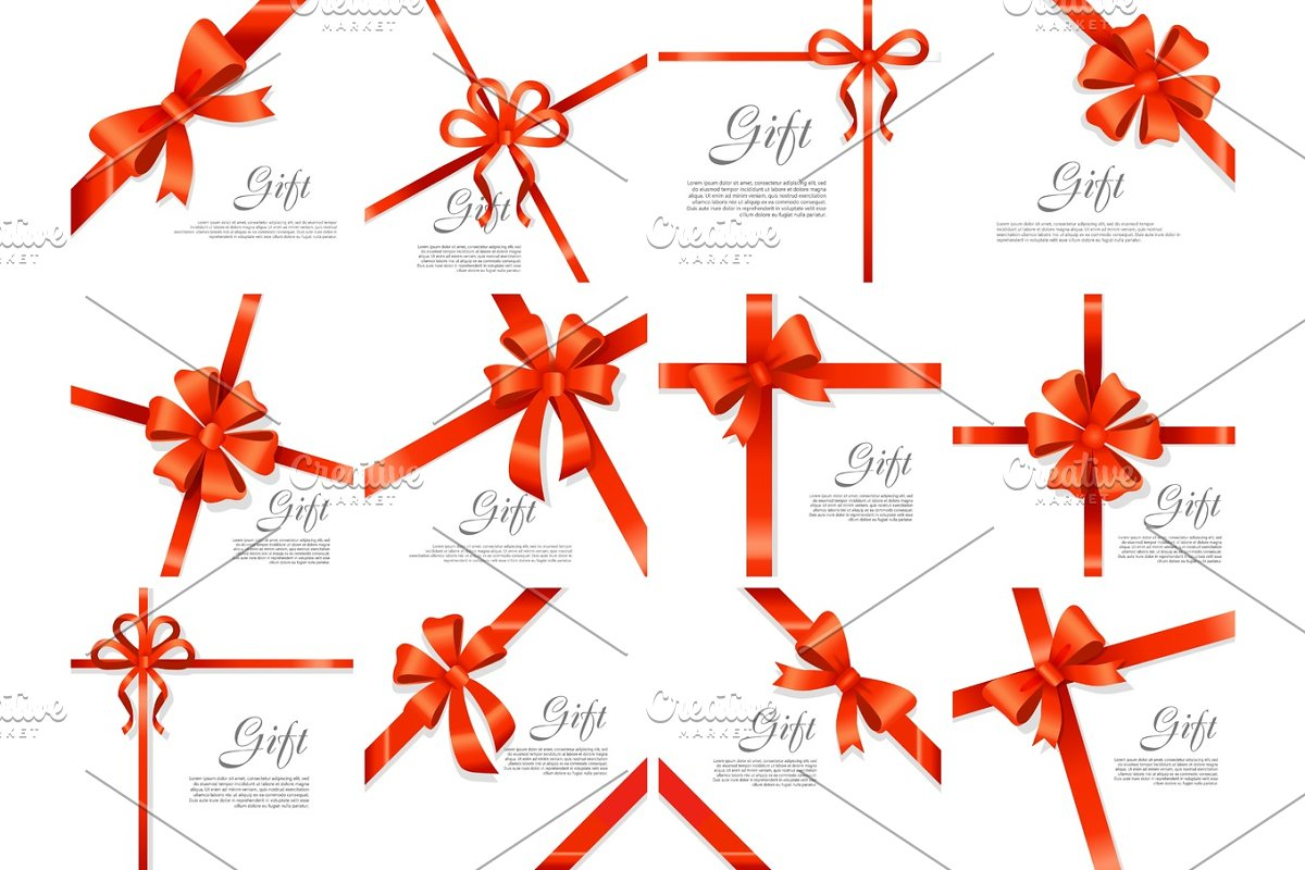 Gift Red Wide Ribbon. Bright Bow with Two Petals in Objects - product preview 8