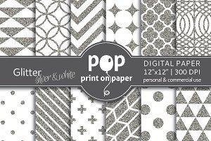 Glitter Silver - Digital Paper JPG
