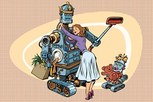 Vintage retro family, dad robot wife and child