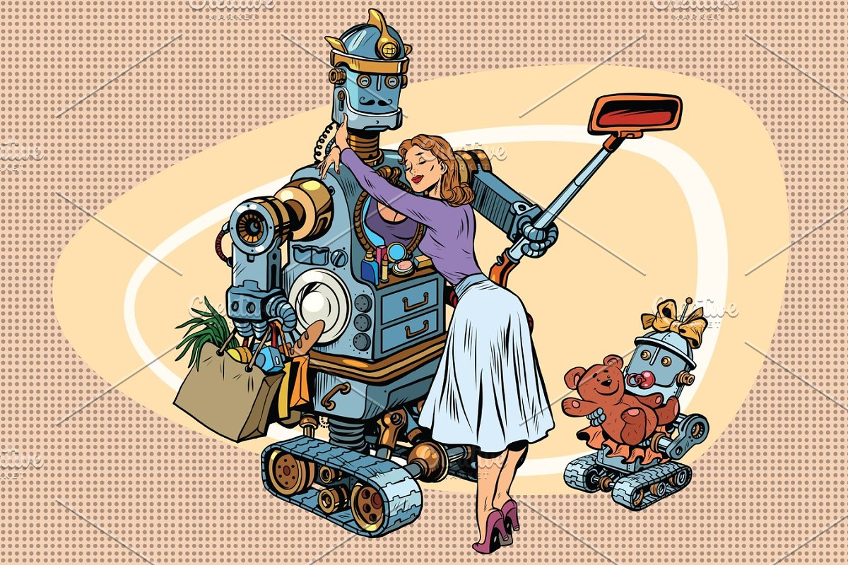 Vintage retro family, dad robot wife and child in Illustrations - product preview 8