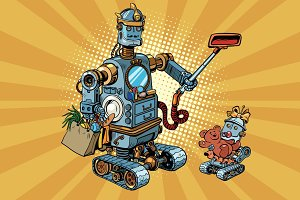 Family retro robots dad and baby