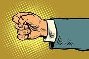 Hand of a businessman beats fist