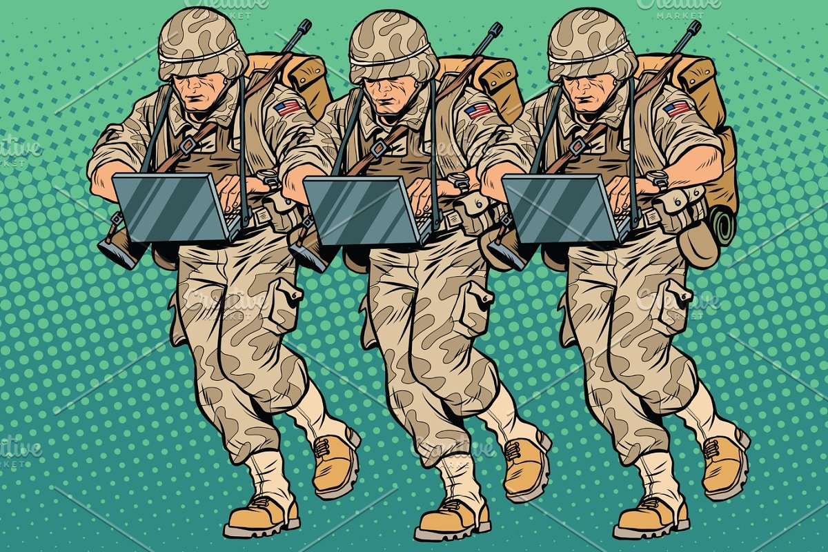 Squad modern cyber soldier in Illustrations - product preview 8
