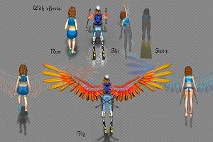 GIRL run ski swim and fly