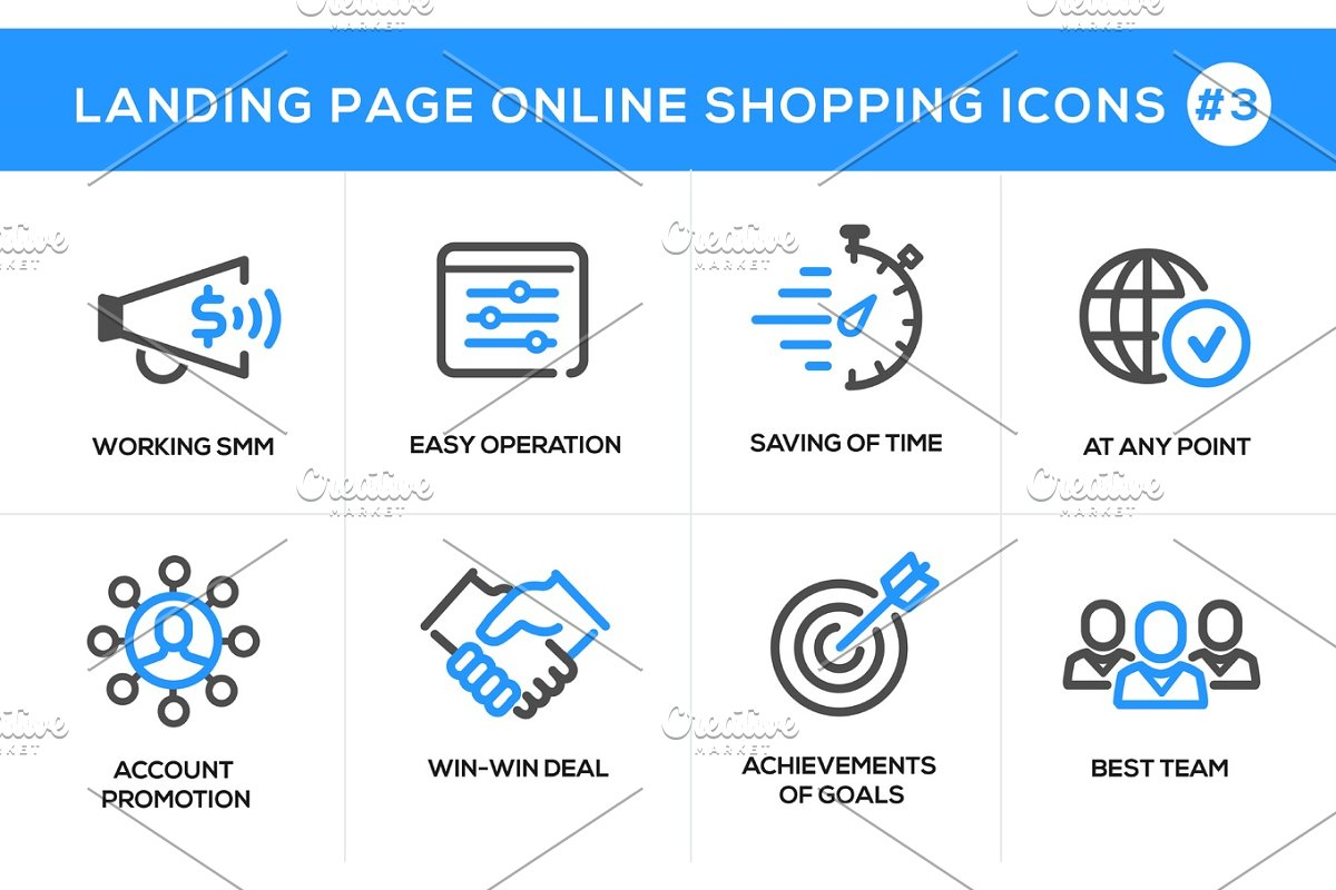 Flat line design concept icons for online shopping, website banner and landing page in Icons - product preview 8
