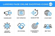 Flat line design concept icons for online shopping, website banner and landing page