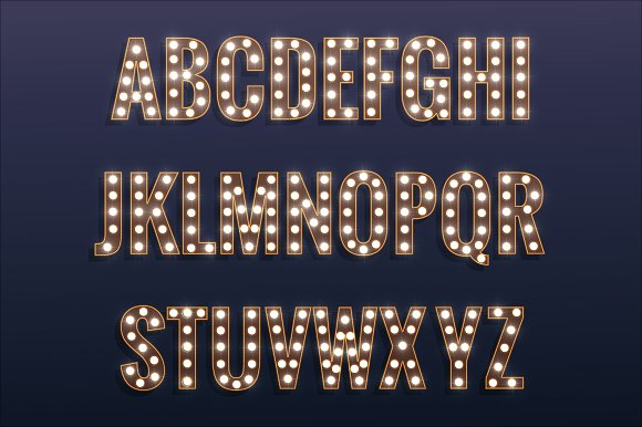 Lights On! Vector and PNG alphabet in Graphics - product preview 1