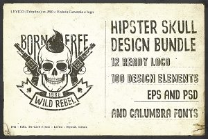 Hipster Skull Design Bundle