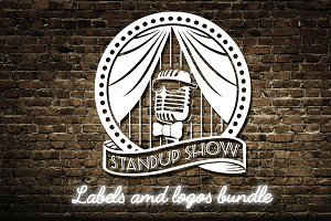 Stand up comedy show logos bundle