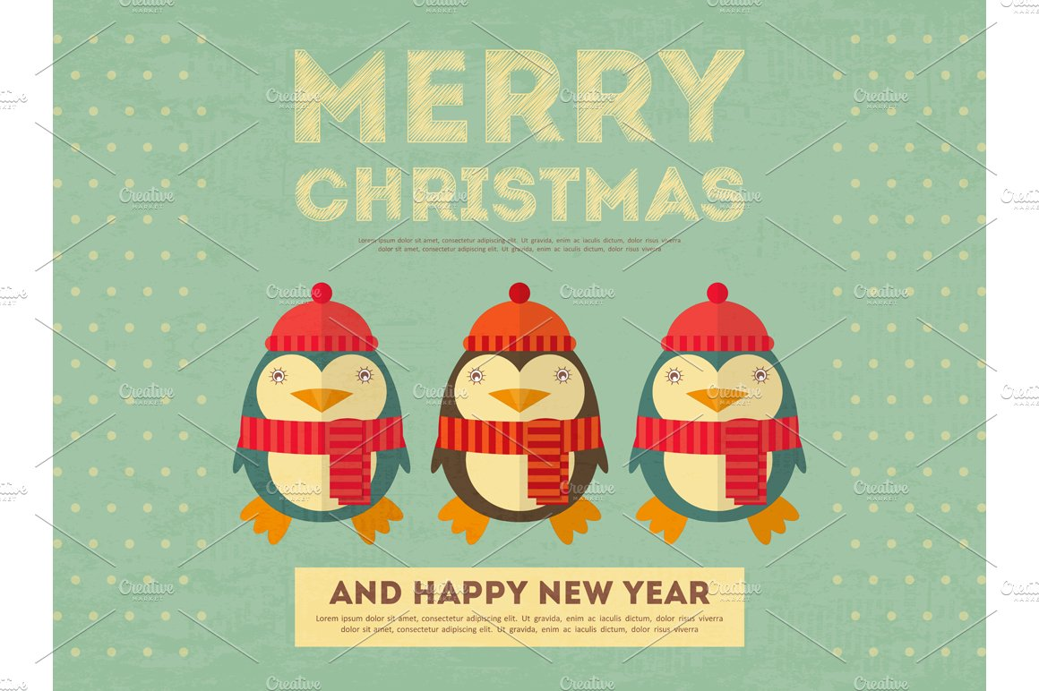Merry christmas greeting card illustrations creative market kristyandbryce Choice Image
