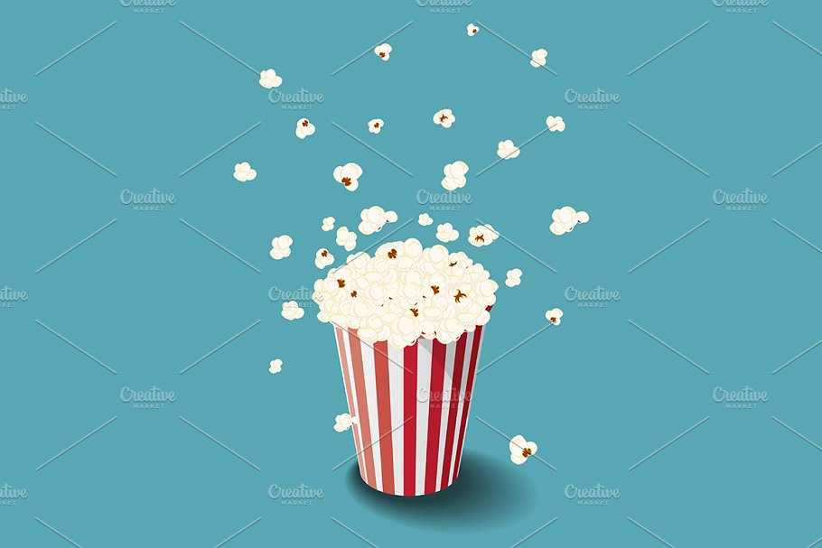 Vector bucket of popcorn in Illustrations - product preview 8