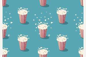 popcorn bucket seamless pattern