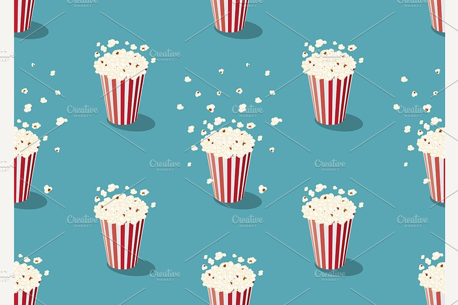 popcorn bucket seamless pattern in Patterns - product preview 8
