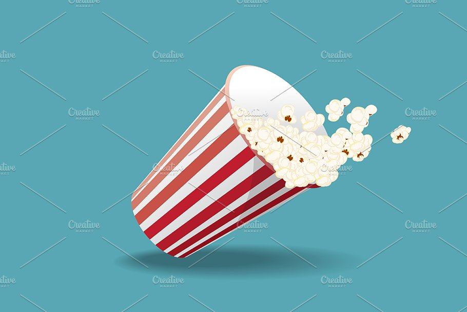 Falling bucket of popcorn in Illustrations - product preview 8