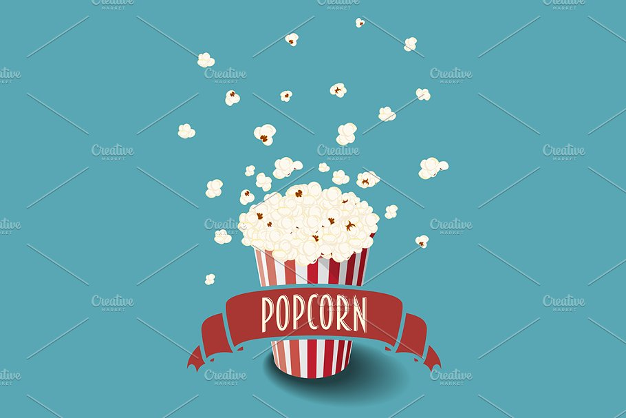 Vector bucket of popcorn in Objects - product preview 8