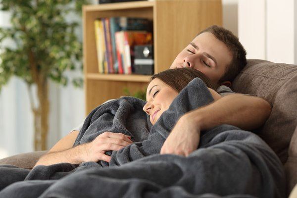 relaxed couple embracing