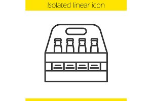 Beer bottles box icon. Vector