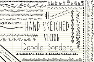 Hand Sketched Vector Doodle Borders