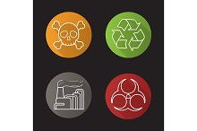 Industrial pollution 4 icons. Vector